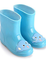Girls' Flats Comfort PU Spring Fall Outdoor Casual Walking Rain Boots Magic Tape Low Heel Green Blue Blushing Pink Flat