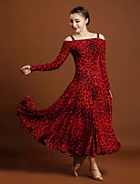 Ballroom Dance Dresses Women's Performance Viscose Animal Print 1Piece/Set Long Sleeve Natural Dresses