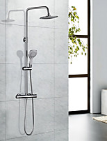 Contemporary Art Deco/Retro Modern Tub And Shower Thermostatic Rain Shower Handshower Included with  Brass Valve Two Handles Two Holesfor