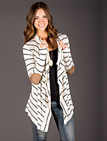 Women's Casual/Daily Long Cardigan,Striped Round Neck Long Sleeve Others All Seasons Medium Micro-elastic