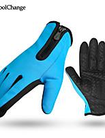 CoolChange bike gloves full finger slip damping can touch screen plus velvet warm mountain bicycle gloves long finger