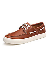 Men's Sneakers Comfort Cowhide Fall Casual Comfort Flat Heel Burgundy Dark Brown Light Brown Black 1in-1 3/4in