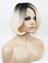 New arrival Short Straight Dark to Blonde Ombre Bob Side Swept Bangs High Heat Resistant Full Synthetic Wig
