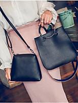 Women Bag Sets PU All Seasons Casual Square Zipper Brown Gray Blushing Pink Black