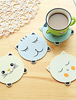4 Pieces/Sets Of Cute Cartoon Cat Animal Wooden Coasters