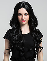 New Fashionable Long black Wavy Hair Synthetic Wigs For woman