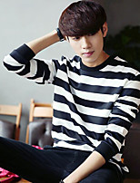 Men's Casual/Daily Going out Sweatshirt Solid Round Neck Micro-elastic Cotton Long Sleeve Spring Fall