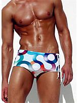 Homens Com Alças,Calcinhas, Shorts & Calças de Praia Floral,Poliéster Estampado