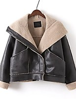 Women's Casual Casual Winter Leather Jacket,Solid Shirt Collar Long Sleeve Short Cotton