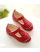 Girls' Flats Spring Fall Comfort PU Leatherette Outdoor Casual Walking Low Heel Magic Tape Screen Color Red Black