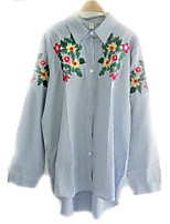 Women's Embroidery Casual/Daily Simple Shirt,Striped Stand Long Sleeve Others