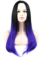 Long Silky Straight Cosplay Wig High Temperature Fiber For Wigs Natural Black To Purple Ombre Color Ombre Wig
