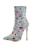 Women's Boots Basic Pump Denim Fall Winter Casual Office & Career Party & Evening Dress Basic Pump Split Joint Plaid Stiletto HeelKhaki