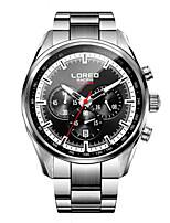 Masculino Relógio Esportivo Relógio de Moda Quartzo Impermeável Aço Inoxidável Banda Preta Prata