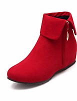 Women's Boots Comfort PU Spring Casual Red Gray Black Flat