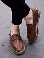 Для мужчин Мокасины и Свитер Удобная обувь Полиуретан Осень Зима Повседневный На низком каблуке Черный Коричневый 2,5 - 4,5 см