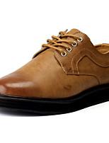 Men's Oxfords Comfort PU Spring Fall Winter Casual Comfort Flat Heel Dark Brown Gray Black Flat