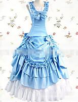 Une Pièce/Robes Gothique Elégant Cosplay Vêtrements Lolita Blanc Bleu Couleur unie Ras du Sol Jupe Noeud Pour Tissu Matelassé