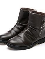 Men's Boots Comfort Light Soles PU Spring Summer Fall Winter Outdoor Office & Career Casual Walking Combat Boots Rivet Split JointFlat