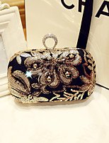 Women Evening Bag Silk All Seasons Event/Party Party & Evening Club Baguette Rhinestone Magnetic Black