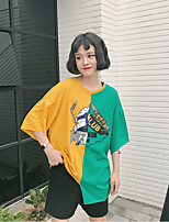 Women's Going out Casual/Daily Simple Spring Summer T-shirt,Print Patchwork Round Neck ½ Length Sleeve Cotton Thin
