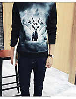 Men's Daily Sweatshirt Animal Print Round Neck Inelastic Cotton Long Sleeve Spring Fall