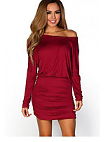 Women's Party Club Sexy Simple Sheath Dress,Solid Boat Neck Mini Long Sleeve 100%Cotton Spring Summer Low Rise Micro-elastic Medium