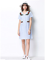 MEIDONGTAI Women's Going out Casual/Daily Party A Line DressStriped Floral Shirt Collar Above Knee Short Sleeve Polyester Spring Summer High Rise