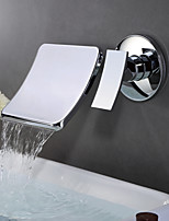 Contemporary Wall Mounted Waterfall Wall Mount with  Ceramic Valve Single Handle Two Holes for  Chrome , Bathroom Sink Faucet
