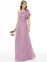 2017 LAN TING BRIDE Floor-length One Shoulder Bridesmaid Dress - Floral Sleeveless Chiffon