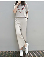 Women's Casual/Daily Work Simple T-shirt Pant Suits,Solid Round Neck Short Sleeve Micro-elastic