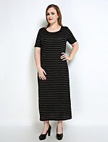 Really Love Women's Plus Size Casual/Daily Holiday Sexy Vintage Simple Shift T Shirt Tunic Dress,Striped Round Neck Maxi Short SleeveCotton Polyester