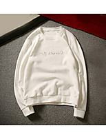 Men's Casual/Daily Sweatshirt Solid Letter Round Neck Micro-elastic Polyester Long Sleeve Fall