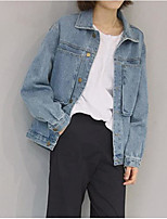 Women's Going out Active Spring Denim Jacket,Solid Stand Long Sleeve Regular Cotton