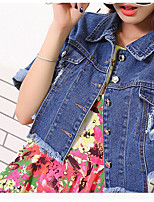 Women's Casual/Daily Simple Fall Denim Jacket,Solid Stand Long Sleeve Regular Bamboo Fiber
