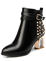 Women's Boots Club Shoes Comfort Cowhide Fall Winter Party & Evening Dress Casual Walking Fashion Boots Rivet Zipper Crystal Heel Black