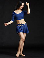 Dança do Ventre Roupa Mulheres Treino Modal Lantejoulas 4 Peças Luva de comprimento de 3/4 Caído Saias Blusas Cinto Calções