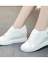 Women's Sneakers Comfort Cowhide Nappa Leather Spring Casual Black White Flat
