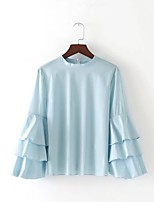 T-shirt Da donna Per uscire Casual Sensuale Semplice Moda città Estate,Tinta unita Rotonda Cotone Manica lunga Sottile Medio spessore