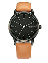 REBIRTH Women's Fashion Watch Chinese Quartz PU Band Black Orange Brown
