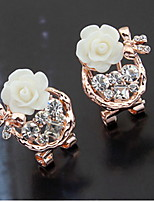 Korean Style Adorable Rhinestone Elegant Flowers Earrings Female Daily Clip Earrings Initial Jewelry