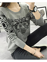 Women's Casual/Daily Simple Regular Pullover,Solid Round Neck Long Sleeve Cotton Winter Thick Micro-elastic