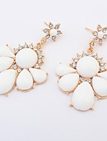Women's Drop Earrings Unique Design Petals Heart Floral Fashion Personalized Euramerican Simple Style Resin Alloy Heart Flower Jewelry For