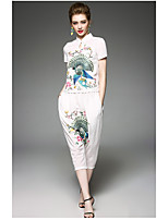 OYCP Women's Daily Contemporary Summer Shirt Pant SuitsEmbroidery Round Neck Short Sleeve