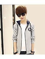 Men's Casual/Daily Simple Hoodie Solid Polka Dot Hooded Micro-elastic Cotton Long Sleeve