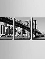 E-HOME Stretched Canvas Art  Black And White Bridge Decoration Painting Set Of 3