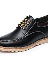 Для мужчин Кеды Удобная обувь Кожа Весна Повседневный Черный Коричневый Хаки На плоской подошве