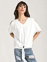 Women's Going out Casual/Daily Vintage Simple T-shirt,Solid V Neck Short Sleeve Cotton