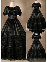 Einteilig/Kleid Gothik Vintage Inspirationen Lolita Cosplay Lolita Kleider Vintage Kappe Kurzarm Bodenlänge Kleid Zum Andere