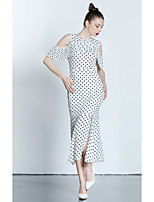 ZIYI Women's Going out Casual/Daily Simple Chiffon DressPolka Dot Off Shoulder Knee-length Short Sleeve Polyester Summer High Rise Inelastic